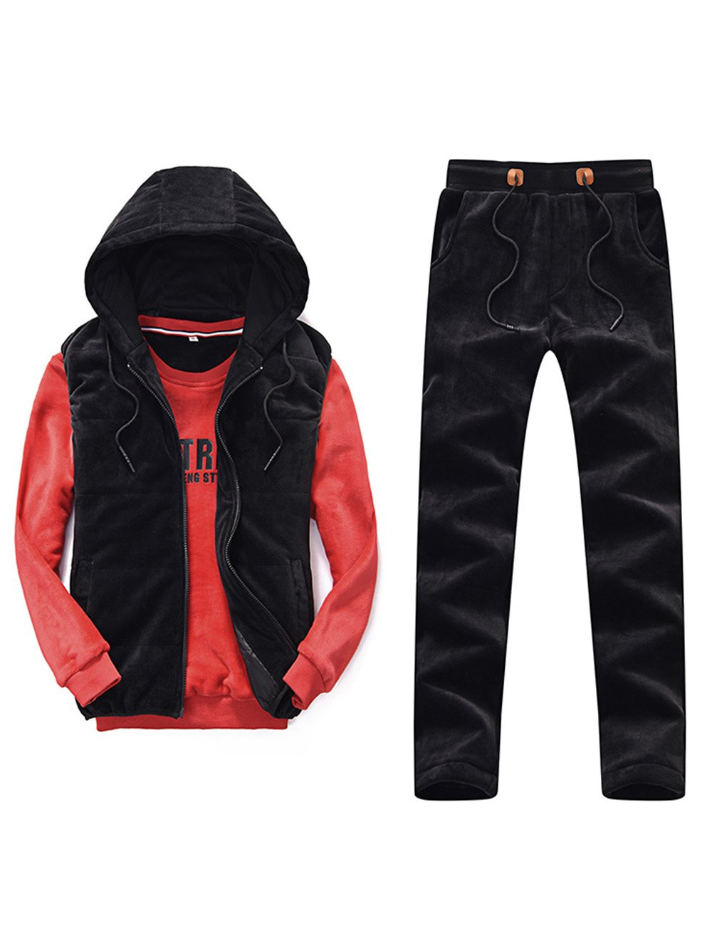 TAPOO Men's Casual Suit Winter Outwear Tracksuit (Vestcoat+clothes+pants) (Medium, Red)