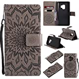 Galaxy S9 Wallet Case,SMYTU Premium Emboss Sunflower Flip Wallet Shell PU Leather Magnetic Cover Skin with Wrist Strap Case For Samsung Galaxy S9(Grey) For Sale