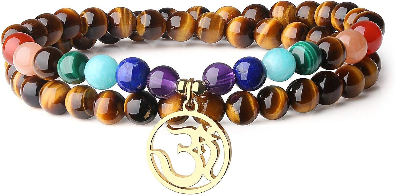 COAI Pulsera Doble Capa de Piedras Naturales con Amuleto OM y 7 Chakras