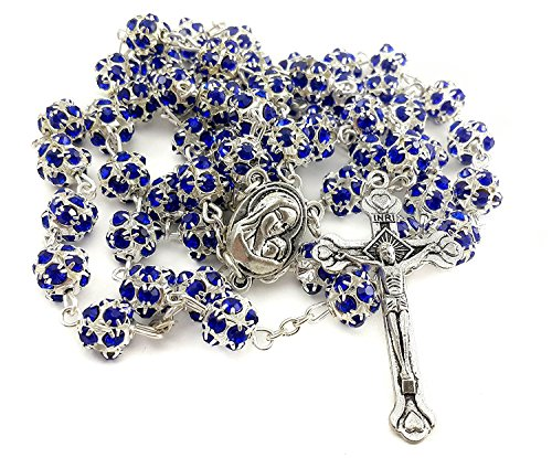 Catholic Rosary Blue Crystallized Beads Necklace with Holy Soil Medal & Metal