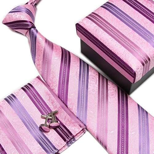 Secdtie Men's Tie Necktie Set for Business Wedding with Pocket Square Cufflinks