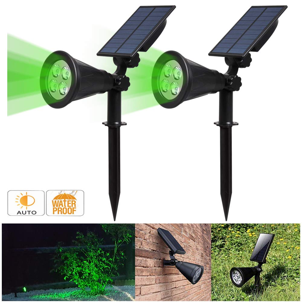 Solar Spotlight, IP65 Waterproof 4 LED Solar Lights Wall Light,Auto-on/Off Security Light Landscape Light 180° Angle Adjustable for Tree,Patio,Yard,Garden,Driveway,Pool Area.T-SUNUS(2 Pack Green) by T-SUNUS