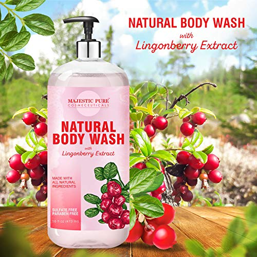 Majestic Pure All Natural Body Wash with Lingonberry Extract - for Body, Face and Hand - Liquid Soap, Sulfate Free & Paraben Free, for Women and Men - 16 fl oz