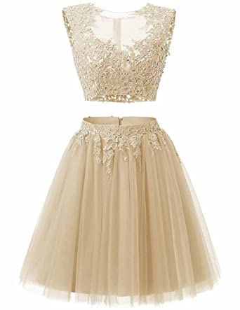 0a2a7458cde YSMei Women s Short Lace Beads Prom Homecoming Dress 2 Piece Junior Party  Gowns Champagne 02