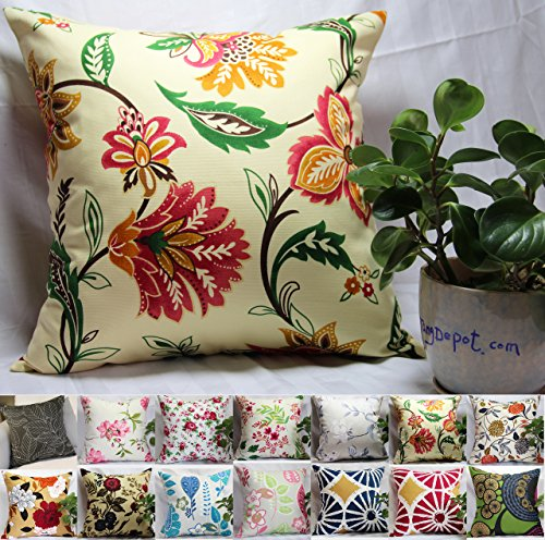 n Floral/Flower Printcloth Decorative Throw Pillow Covers /Handmade Pillow Shams, 14 Color and 10 Size options, Light Black, Peach Blossom, Red Rosebush, Red And Green Leaf, White Magnolia, Fantastic Flowers, Chrysanthemum, Peony, Red And Navy Flower, Blue Floral, Pink Floral, Blue Wheel, Red Wheel, Tree Rings, 12