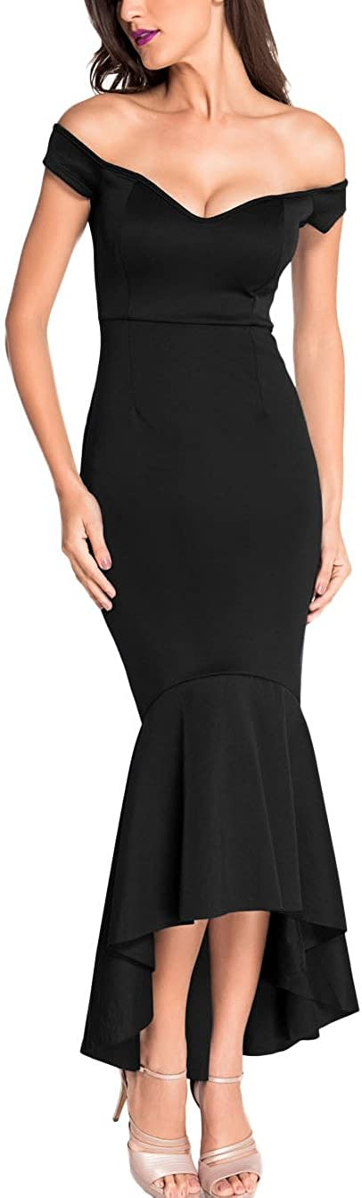 Z-one Womens 2017 Classic Style Fishtail Skirt Dresses Off Shoulder V Neck Evening Party Dresses