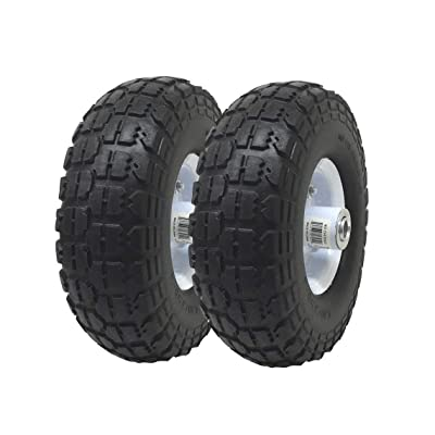 """UI PRO TOOLS 2-Pack 4.10/3.50-4"""" Flat Free Rubber Tire Hand Truck/All Purpose Utility Tires on Wheels 5/8"""" Bearing Hole : Garden & Outdoor"""