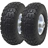 """UI PRO TOOLS 2-Pack 4.10/3.50-4"""" Flat Free Rubber Tire Hand Truck/All Purpose Utility Tires on Wheels 5/8"""" Bearing Hole"""