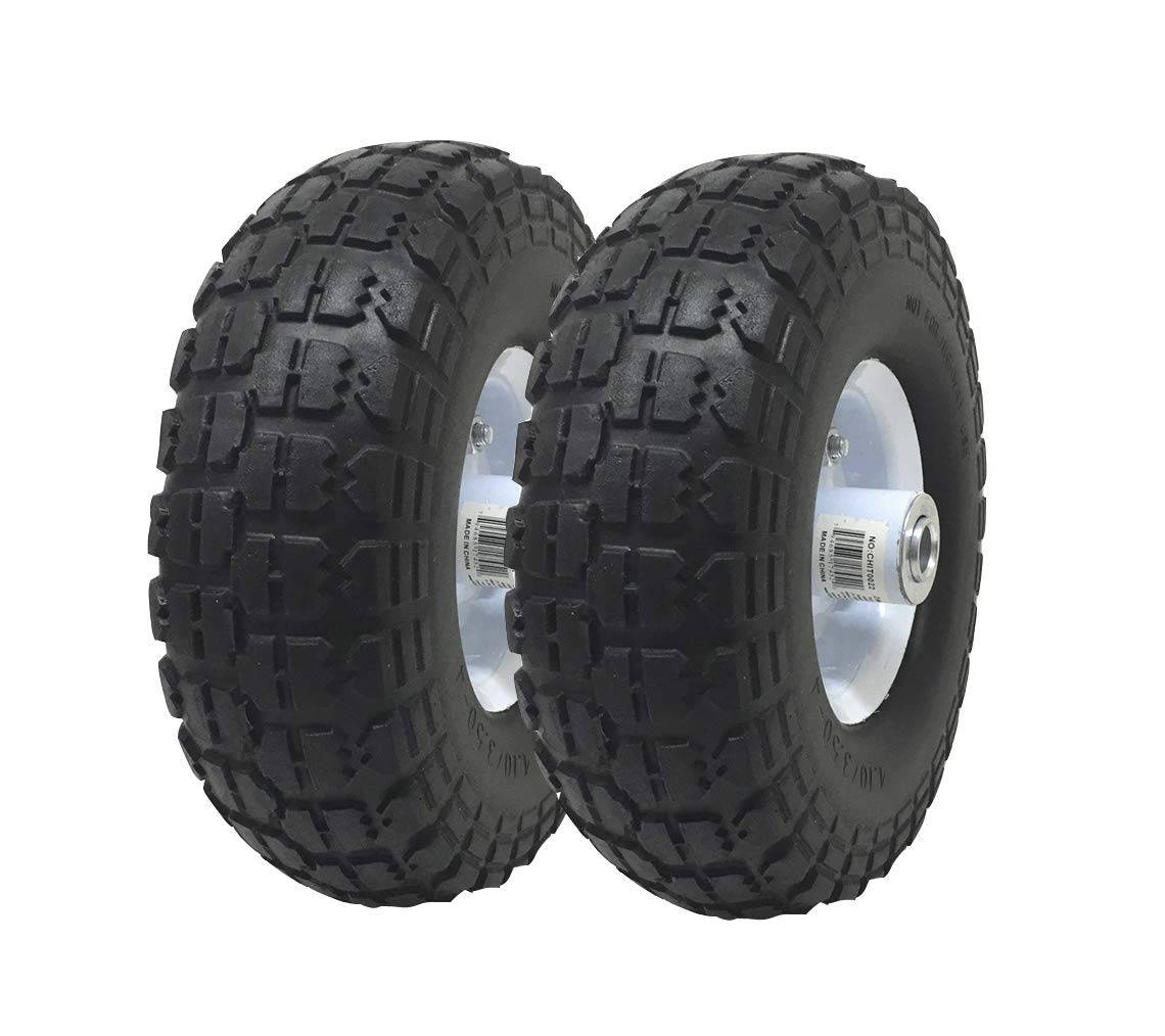 "UI PRO TOOLS 2-Pack 4.10/3.50-4"" Flat Free Rubber Tire Hand Truck/All Purpose Utility Tires on Wheels 5/8"" Bearing Hole"