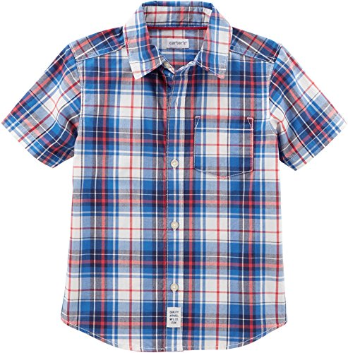 (Carter's Boys' 2T-8 Short Sleeve Woven Plaid Button up Top (Red/White/Navy, 4-5))