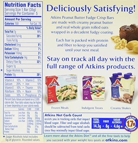 Atkins Day Break Peanut Butter Fudge Crisp Bar, 5 Count