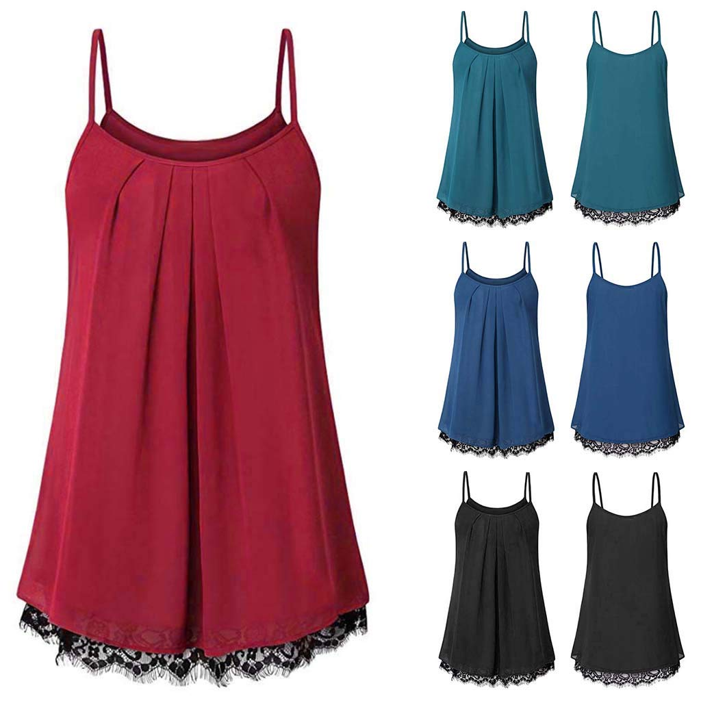 TWGONE Cami Tank Tops For Women Lace Loose Sleeveless Solid Color Basic Vest(Medium,Red) by TWGONE (Image #3)