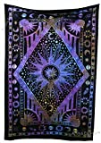 Amitus Exports(TM Premium Quality 1 X Celestial Sun 79''x53''(Approx.) Inches Tie Dye Multi Color Cotton Fabric Tapestry Hippy Indian Mandala Throws (Handmade in India)