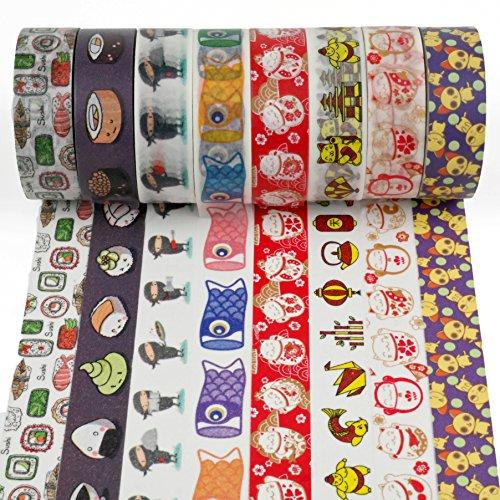 Crafty Rabbit Sushi Ninja Washi Tape - Set of 8 Rolls - 262 Feet Total - Multicolor