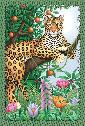 - Toland Home Garden Lounging Leopard 28 x 40 Inch Decorative Colorful Jungle Cat Tropical Flower House Flag