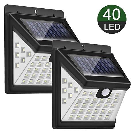 Luz Solar Exterior, Priksia 40 LEDs Foco Solar con Sensor de Movimiento Gran Ángulo 270º Impermeable Inalámbrico Lámpara Solar Solares de Pared de ...