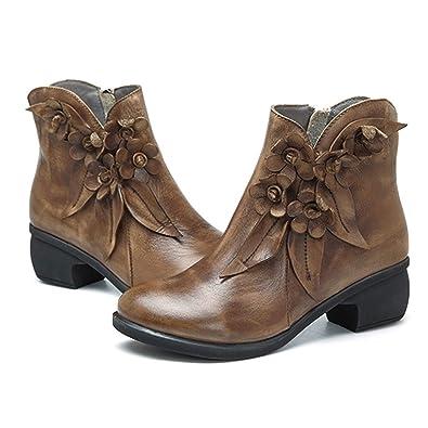 552eea4869 Socofy Bottes Femme, Boots à Fleurs en Cuir Talon Haute Chaussures de Ville  Mustang Hiver