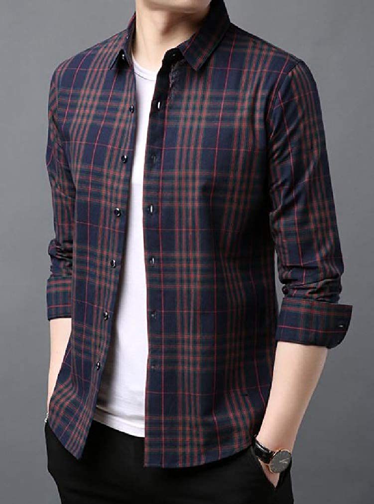 Zimaes-Men Long-Sleeve Plaid Britain Bussiness Silm Fit Dress Shirts