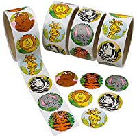 Zoo Animal Sticker Roll for Kids - 400 Pcs Assorted Sheets - Party Favors, Game Prizes, Novelty Toys, Wall Decals, Creative Scrapbooks, Personalized Arts and Crafts
