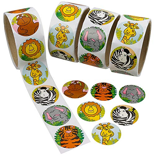 Kicko Zoo Animal Sticker Roll for Kids - 4 Rolls - 400 Assorted Stickers - Party Favors, Game Prizes, Novelty Toys, Wall Decals, Creative Scrapbooks, Personalized Arts and Crafts ()