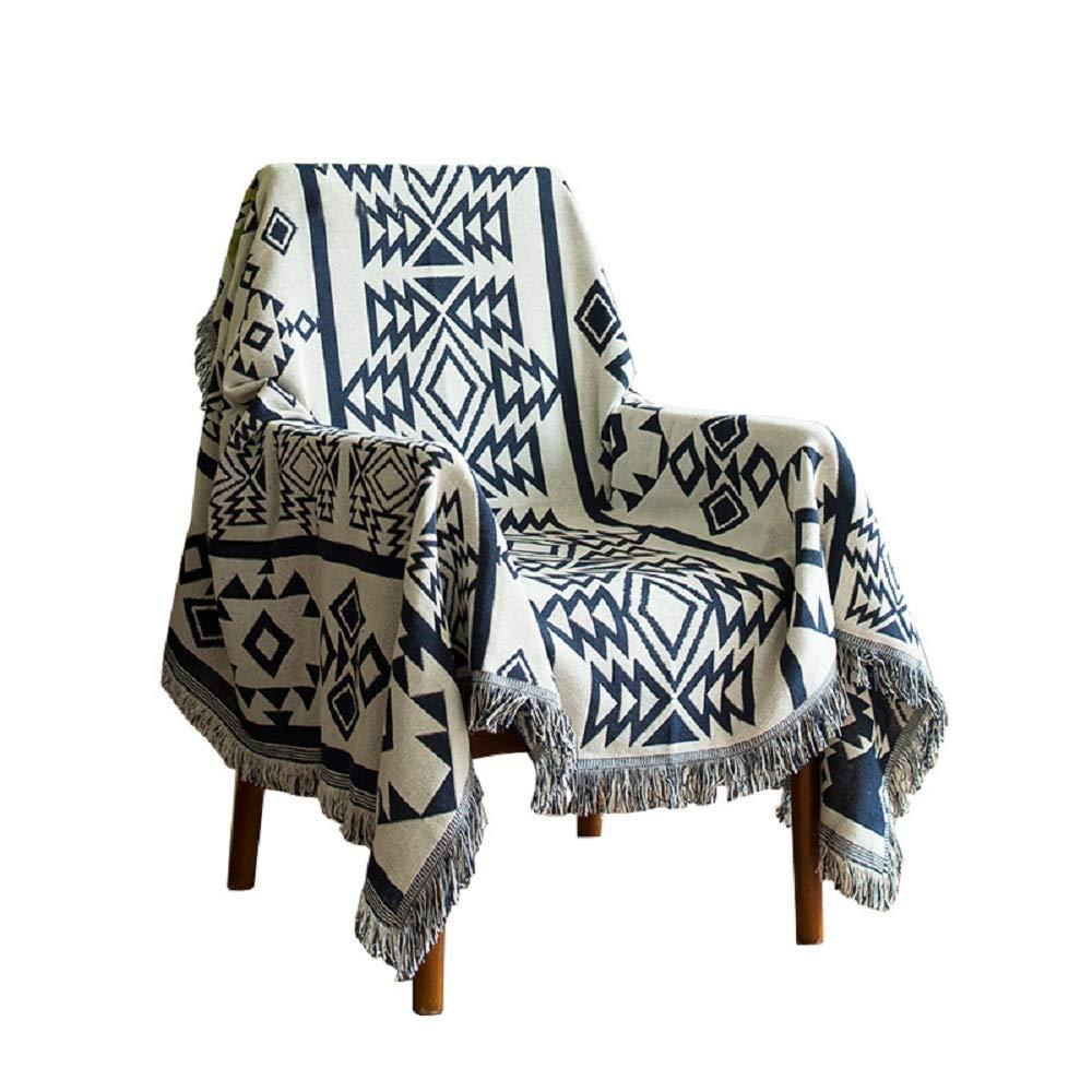 Lemonda Cotton Double Sided Knitted Multi-Function Blanket Throw, 51 x 71 (Big Rhombus) Lemonda-us
