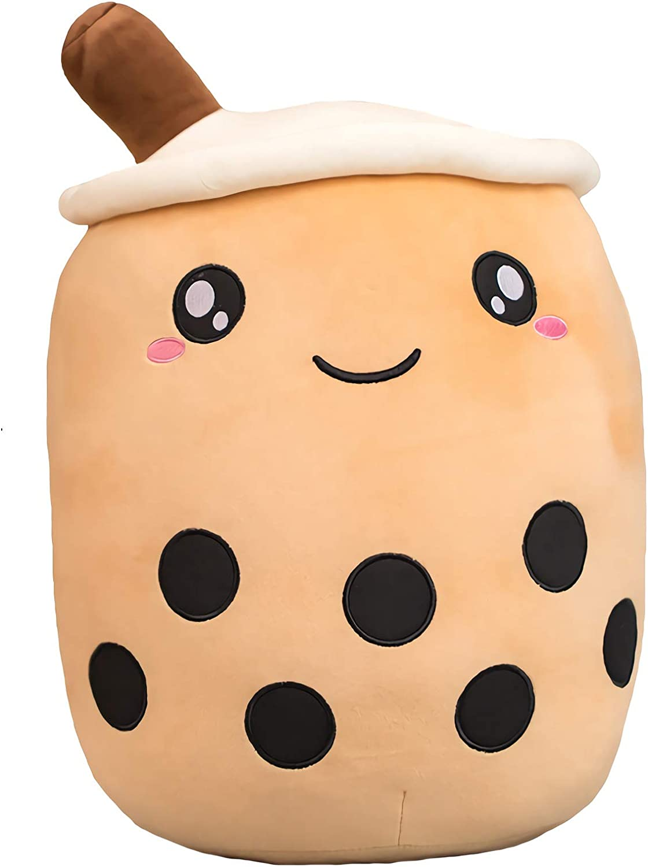 VickyPOP Cute Bubble Tea Plush Toy Stuffed Boba Food Shaped Pillow Cushion Cartoon Fruit Milk Tea Gift for Kids (Brown Open Eyes, 9.4 inch)