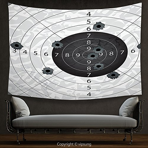 House Decor Tapestry Military Decor Gun Bullet Holes on Paper Target Army Weapon Danger Violence Themed Image Charcoal Grey Wall Hanging for Bedroom Living Room Dorm