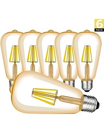 Retro Edison Bombilla, 6 Piezas E27 ST64 Vintage Edison Bombillas Decorativa LED Filamento, Equivalente