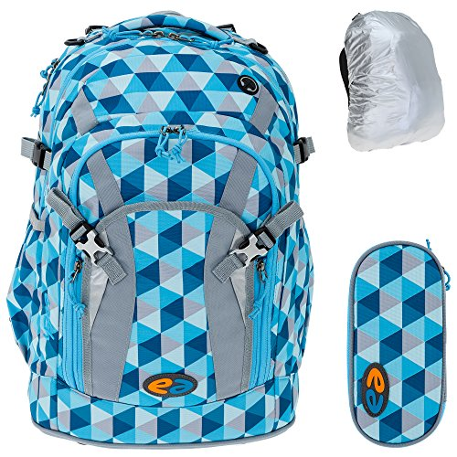 3 Teile Set: YZEA by Take it Easy Schulrucksack PRO + YZEA Etui Box Mäppchen + Regenüberzug (NIGHT 171 Dunkelblau) ICE 625 Hellblau Karo vU1Sw