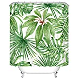 Goodbath Green Leaf Shower Curtains, Tropical Palm Leaves Mildew Resistant and Waterproof Fabric Bathroom Curtains, 72 x 72 Inch, Green