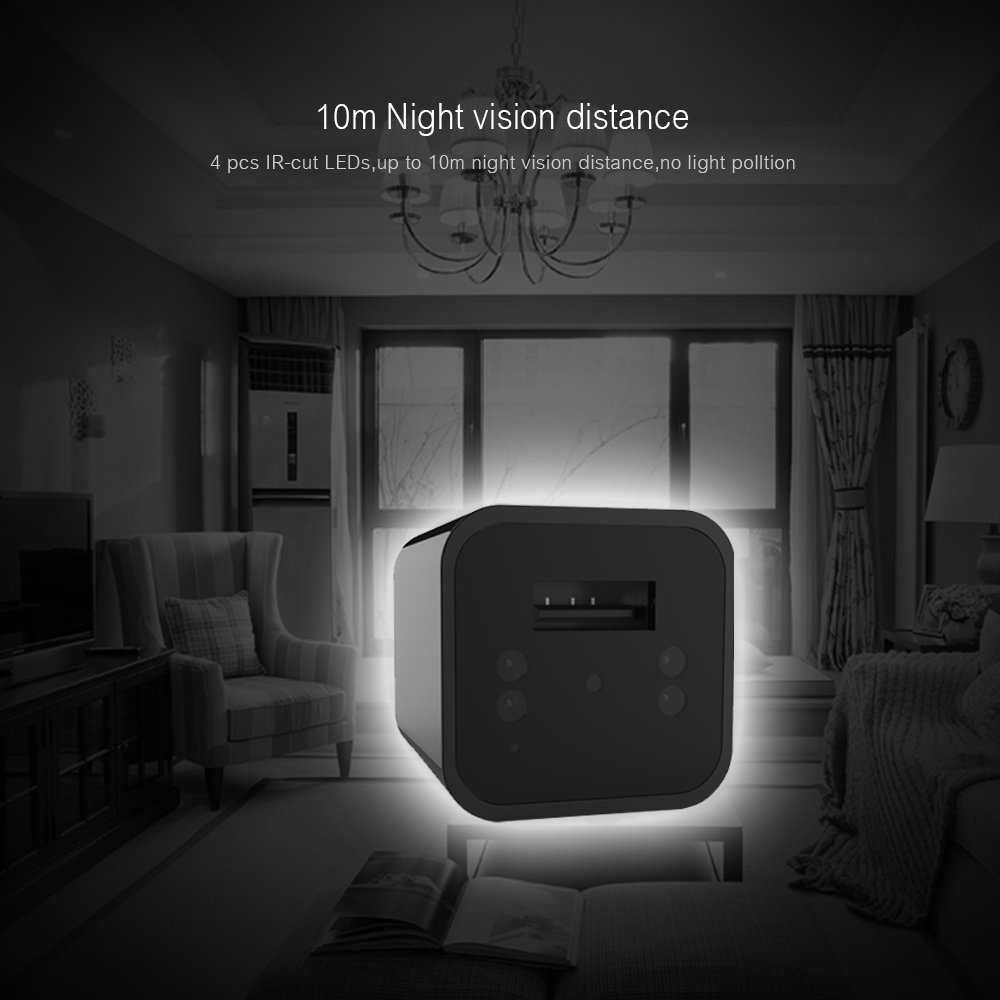 Night Vision USB charger Spycam 1080P FREE 32GB Sd Card Included Motion Dtetction Loop recording Nannycam surveillance Home/Office/Hotel or Elderly parent by AR1