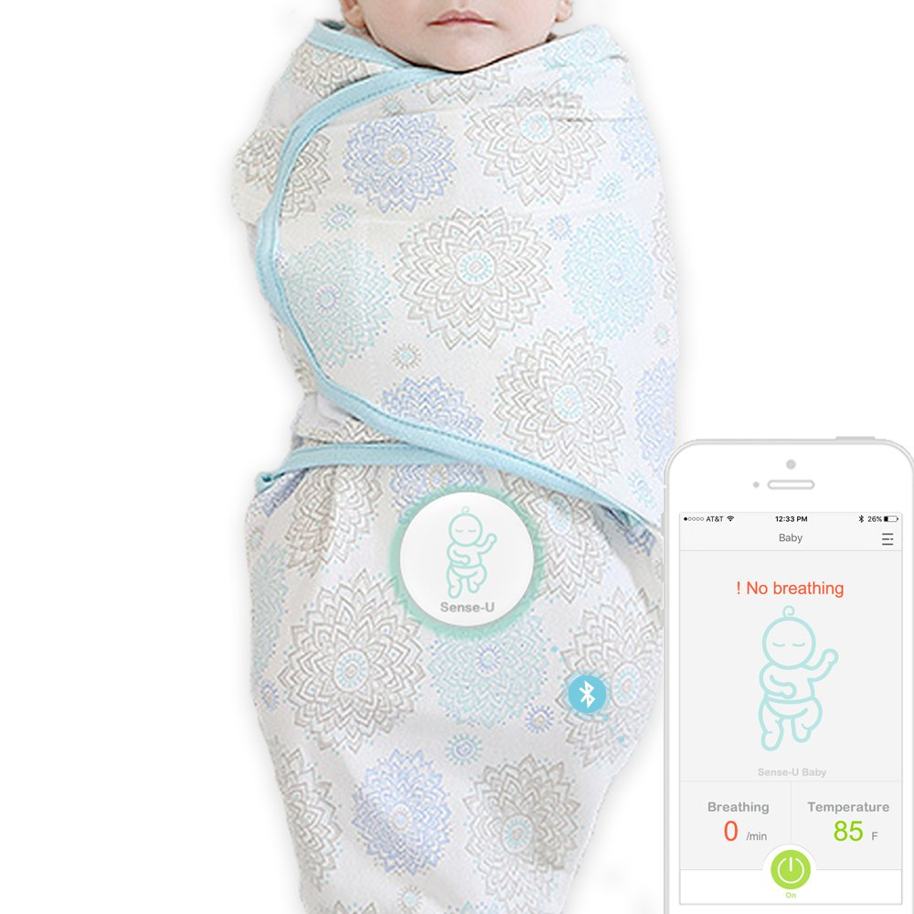 Sense-U SMART Swaddle Blanket: Monitor Your Baby's Breathing, Rollover with Audible Alarm when No Breathing Movement or Stomach Sleeping(Small)