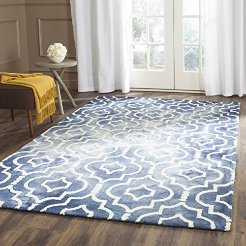 Safavieh Dip Dye Collection DDY538N Handmade Geometric Moroccan Watercolor Navy and Ivory Wool Area Rug (5′ x 8′)