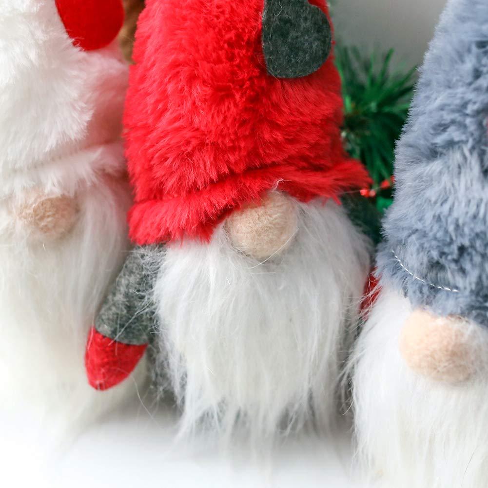 FuturePlusX Swedish Santa Gnome Plush, 3PCS Handmade Scandinavian Tomte Santa Scandinavian Gnome Plush Heart for Christmas Santa Decoration Table Decor