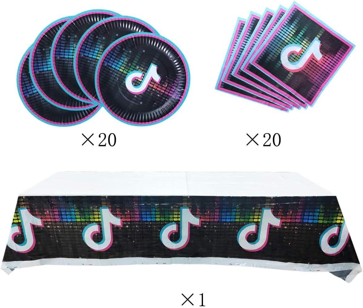 20 Napkins 20 Plates TIK Tok Party Supplies TIK Tok Party Supplies Set Tablecloth