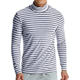 PASATO Classic Men's Autumn Winter Striped Turtleneck Long Sleeve T-shirt Top Blouse Clearance Sale(Gray, XXXL=US:XXL)