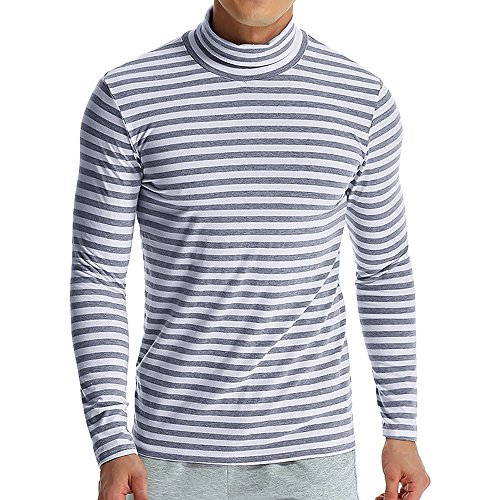 iLXHD Men's Autumn Winter Striped Turtleneck Long Sleeve T-Shirt Top Blouse(Gray,3XL) ()