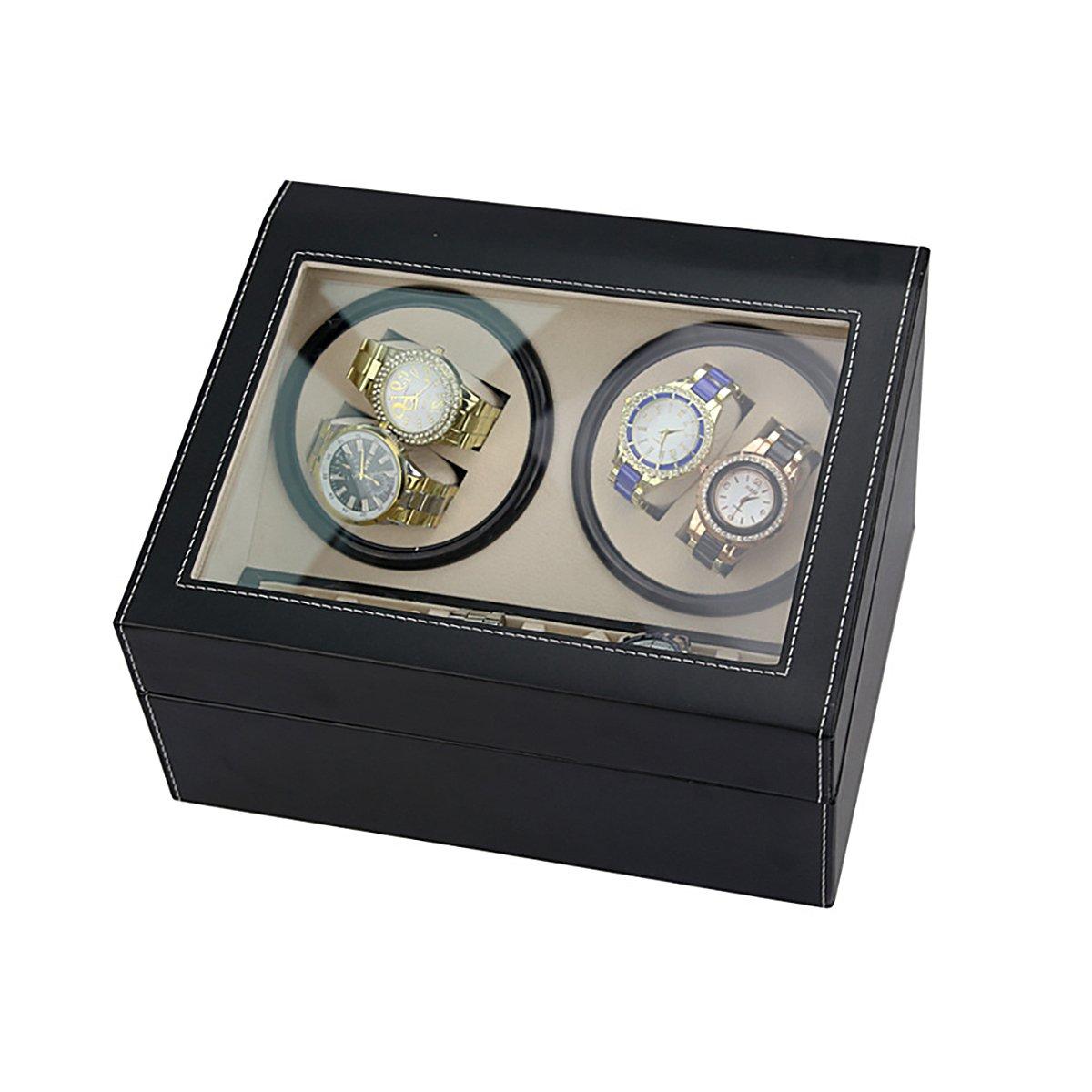 HooAMI Leather Automatic Rotation 4+6 Watch Winder Storage Case Display Box by HooAMI (Image #2)