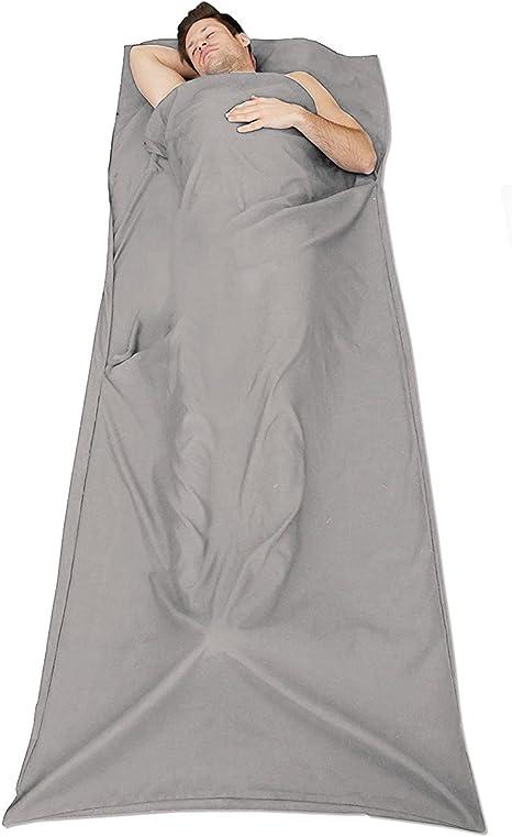 Cusfull 100% Algodón Suave Viaje/Saco de Dormir/Saco de Dormir Liner con bolsillos funda de almohada para cama de camping bolsa hotel espacio de lujo: Amazon.es: Deportes y aire libre