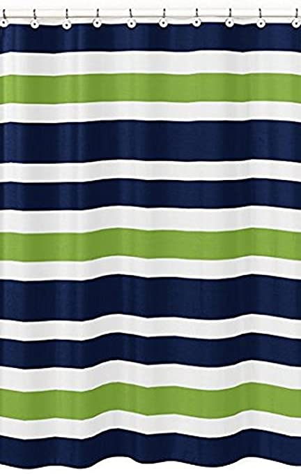 Vandarllin Navy Blue Lime Green And White Kids Bathroom Fabric Bath Stripes Shower Curtain By