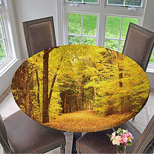 Mikihome Round Table Tablecloth Autumn Scene Landscape Somewhere in New England for Wedding Restaurant Party 59