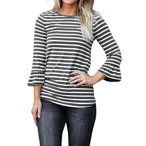 OverDose camisetas blusas mujer jersey suelto manga de la llamarada tapas de la raya