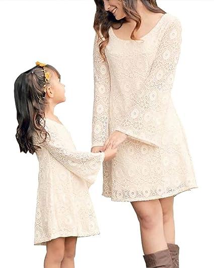Tomwell Verano Cuello Redondo Manga Larga Madre E Hija Costura de Encaje Partido de Tarde Mini Vestido Familia Fiesta: Amazon.es: Ropa y accesorios