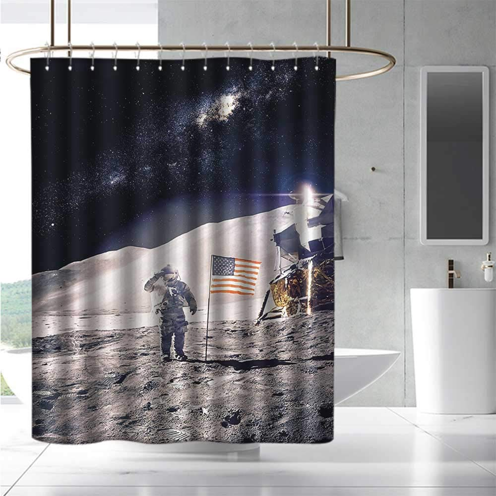 Marilds - Cortinas para mampara de Ducha, diseño de Astronauta Espacial en la Luna con Bandera Estadounidense: Amazon.es: Hogar