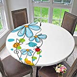 """Mikihome Elasticized Table Cover and Oval Dome Shaped Ladybugs Never Ending Story Luck Symbol Machine Washable 40""""-43.5"""" Round (Elastic Edge)"""
