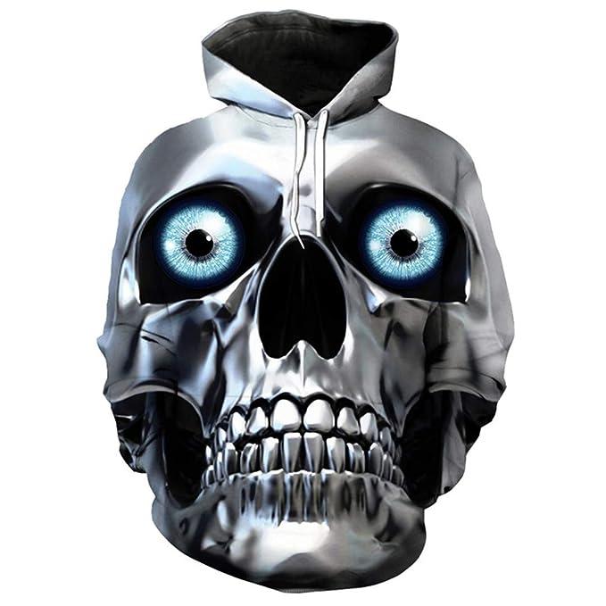Sudadera con Capucha de Metal para Hombre con máscara de Calavera en 3D Hip Hop Usar con Capucha: Amazon.es: Ropa y accesorios