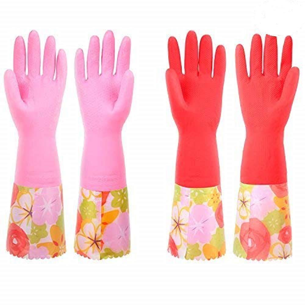 キッチン用ラテックス 手袋 4点 お皿洗い&家庭用クリーニング ファンシーなPVCカフとフロック裏地 2組 B073VBXQSD