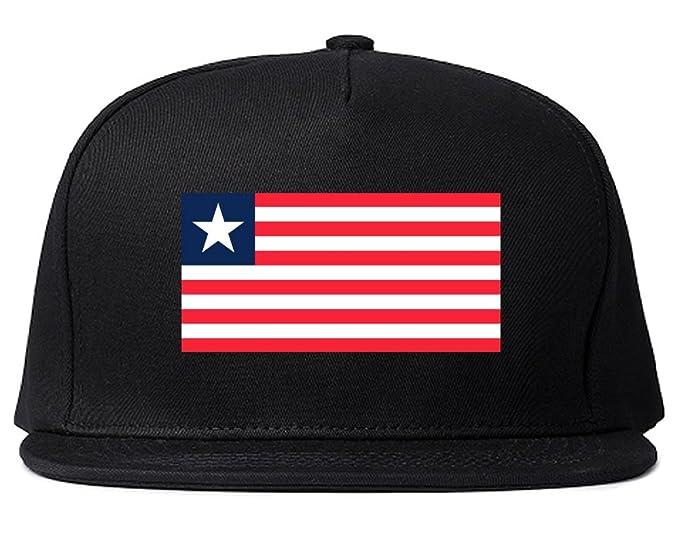 7169cec9efeb6 Liberia Flag Country Printed Snapback Hat Cap Black at Amazon Men s ...