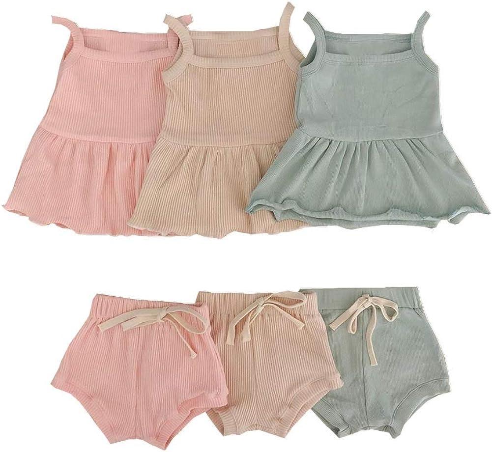 2PCS Newborn Baby Girls Summer Shorts Clothes Ruffle Dress Top Strap Sleeveless Shirt + Cotton Shorts Pants Ribbed Outfits