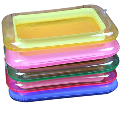 Goolsky 1 Unids Portable Sandbox Inflable Plato para Actividades Sensoriales Cinéticas Sand Blow Up Bandeja de
